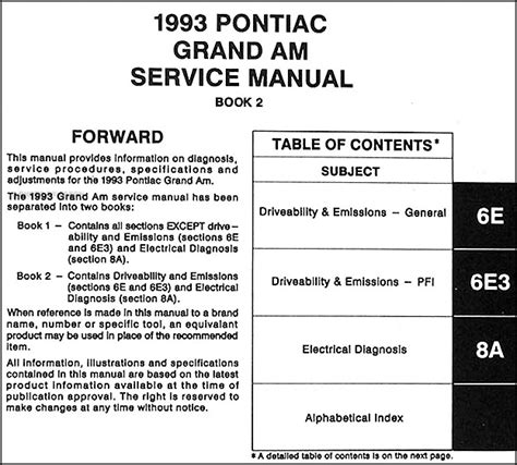 how to download repair manuals 1989 pontiac grand am instrument cluster 1993 pontiac grand am shop manual 2 volume set 93 original repair service books ebay