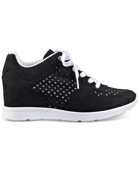 lace up wedge sneakers guess s laceyy lace up wedge sneakers in black lyst