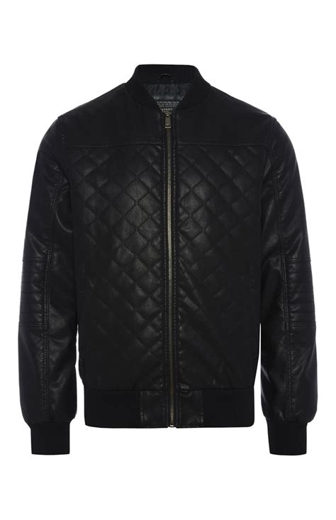 Primark Quilted Jacket by An Attractive Black Pu Quilted Zip Through Jacket For
