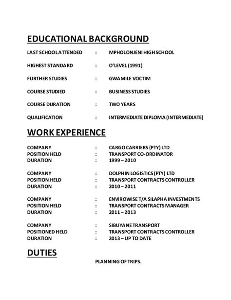 Resume Sle Education Background Mandlas Resume 1