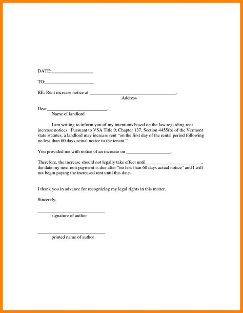 Rent Increase Letter Notice 10 Rent Increase Notice Form Student Resume Template
