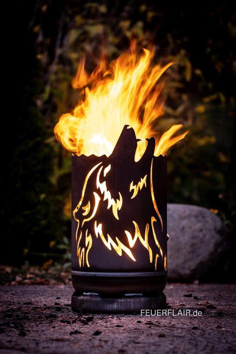 small fire barrel howling wolf gas bottle   wolf