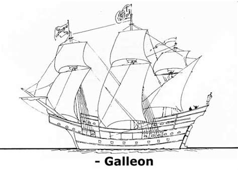 coloring page spanish galleon tudor ship colouring pages