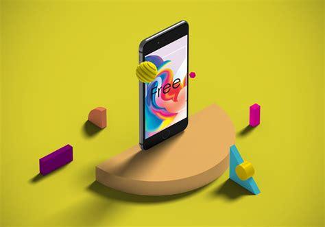 isometric iphone  shapes mockup mockupworld