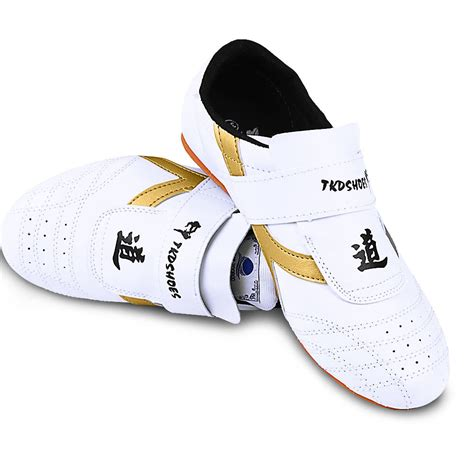 white and golden tae kwon do tkd footwear kung fu shoes