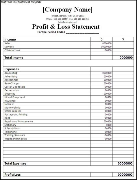profit and loss excel template profit loss template excel profit