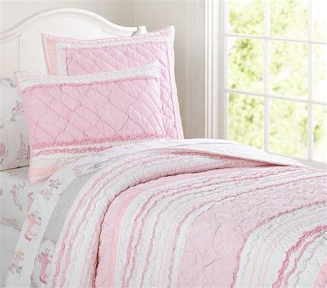 pottery barn girls bedding brigette ruffle quilted bedding pottery barn kids