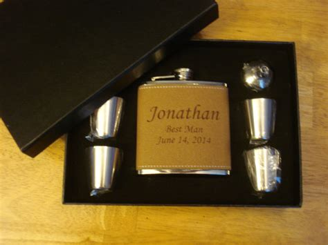 country wedding 8 groomsmen gift flask sets personalized 8 personalized leather wrapped flask gift sets great