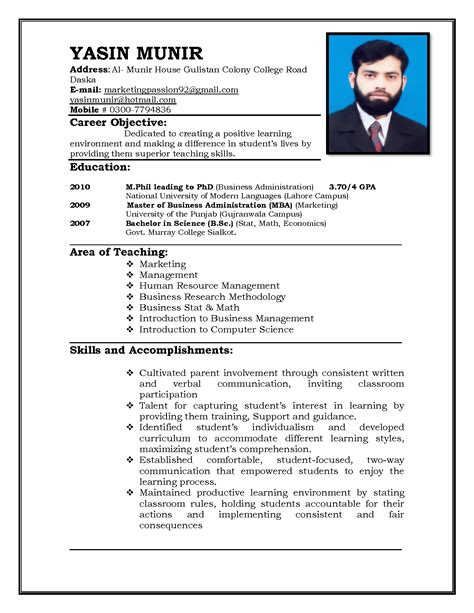 Resume Sle For Teaching by Teaching Resume Format Image Yourmomhatesthis
