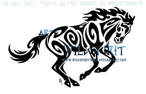tribal running horse tattoo by wildspiritwolf on deviantart