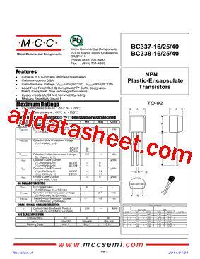 transistor bc337 16 bc337 16 11 datasheet pdf micro commercial components