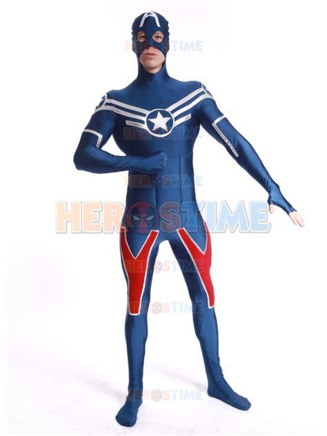 Kaos Spandex Captain America Shield shield captain america costume fullbody spandex zentai suit factory wholesale