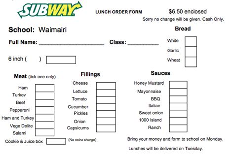 office lunch order form template image gallery subway application 2016
