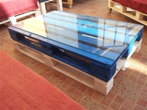 Diy Glass Top Coffee Table Diy Colorful Pallet Coffee Table With Glass Top