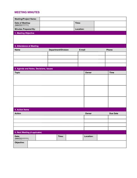 project meeting minutes template word project meeting minutes template in word and pdf formats