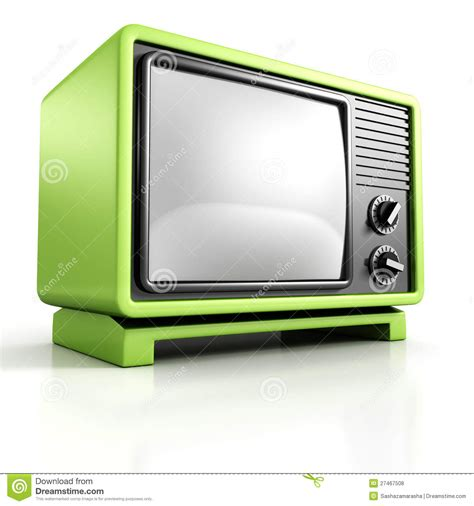green tv green retro vintage tv set on white background stock photo cartoondealer com 27467508
