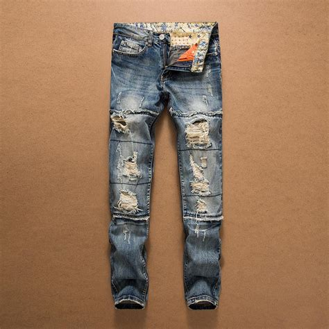 Plan Be Ripped Denim 91003 2018 new arrival fashion mens holes distressed biker brand cut up denim for