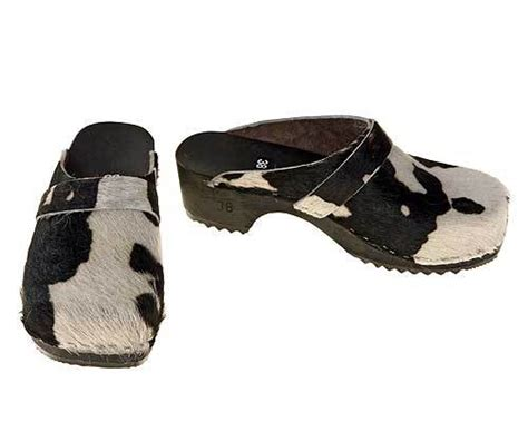 Cowhide Clogs - cowhide clogs in black white
