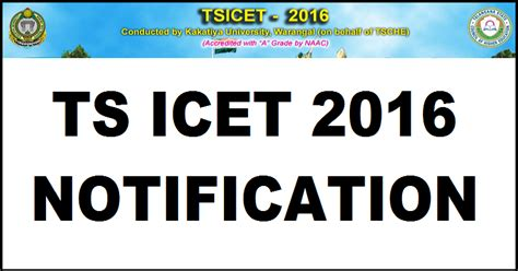 Mba Cet 2016 Registration by Tsicet 2016 Notification Apply For Telangana Icet