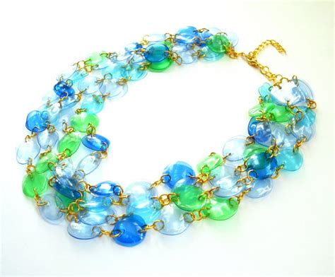 Handmade Recycled Jewelry - statement necklace handmade of recycled plastic bottles in