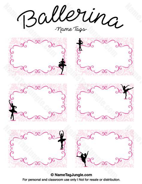 printable dance tags printable ballerina name tags