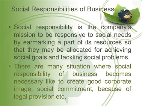 Responsibilities Of Business by Social Responsibility Of Business Ppt