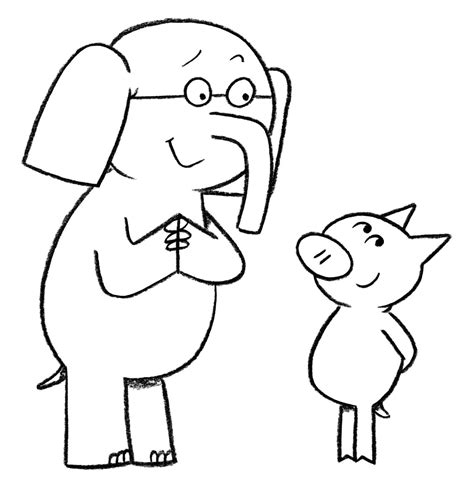 elephant and piggie coloring pages coloring home