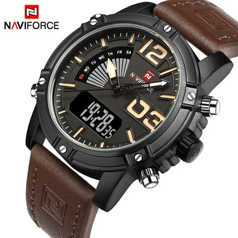 tvg fashion brand mens watches leather led waterproof