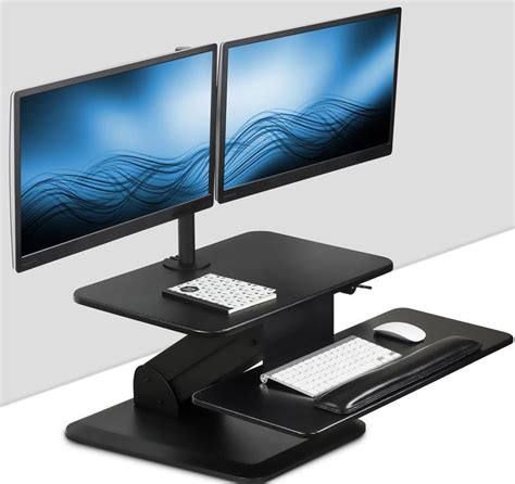 Convert Sitting Desk To Standing Desk Sit Stand Workstation Standing Desk Converter With Dual Monitor Mount Combo