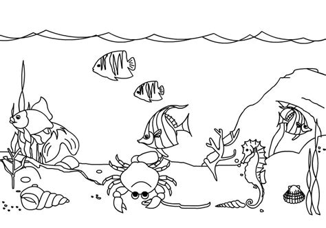 ocean background coloring page under the sea clipart black and white clipartxtras