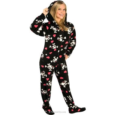 drop seat footed pajamas for adults skulls hooded fleece footed pajamas with drop