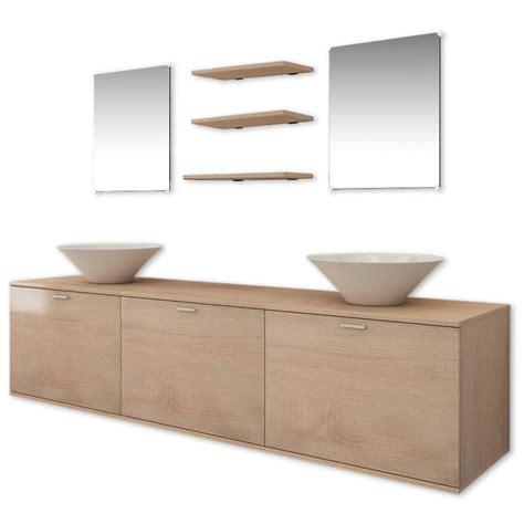 Vidaxl Ten Piece Bathroom Furniture Set With Basin With Bathroom Furniture Sets