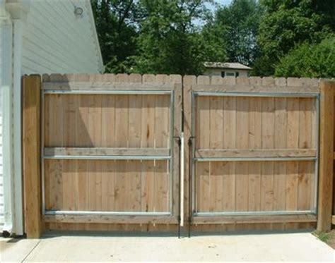 how to build a double swing wooden gate cedar double drive gate with steel reinforced frame