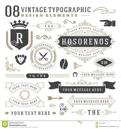 vintage classic design label elements retro vintage typographic design elements stock vector