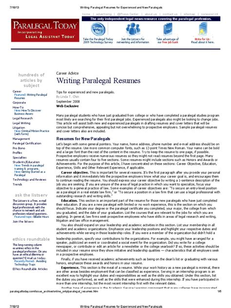 Resume Writing Tips For Paralegals Writing Paralegal Resumes For Experienced And New Paralegals Docshare Tips