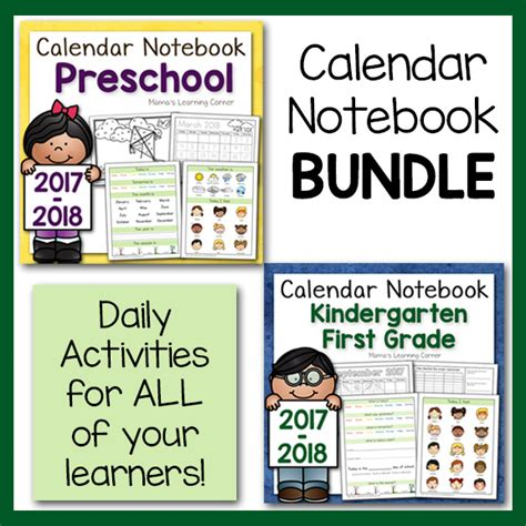 Calendar Notebook Calendar Notebooks For Preschool And K 1st Grade Bundle