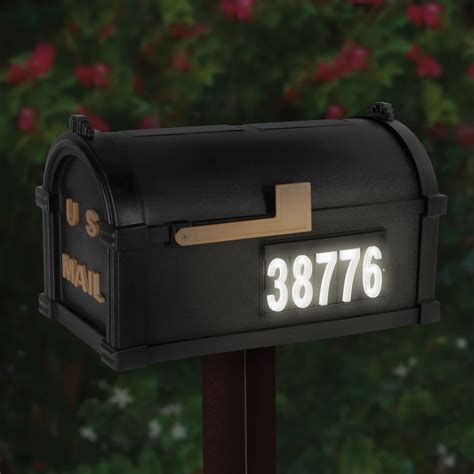 the solar illuminated address mailbox hammacher schlemmer