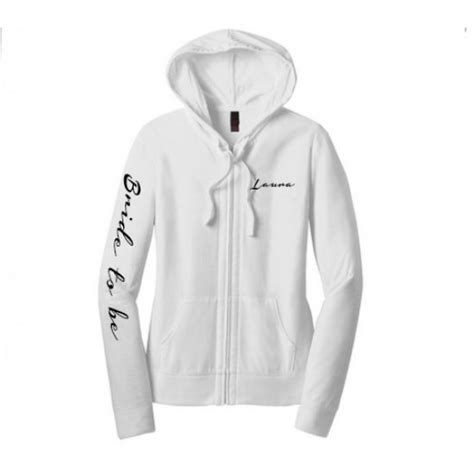 Wedding Zip Up Hoodie bridal wedding zip up hoodie with customised text