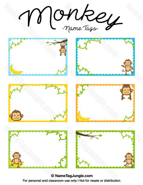 printable name labels for preschool free printable monkey name tags the template can also be