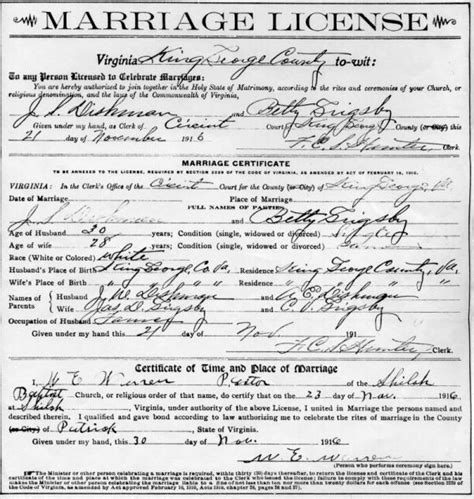 State Of Virginia Marriage Records Virginia Marriage Certificate