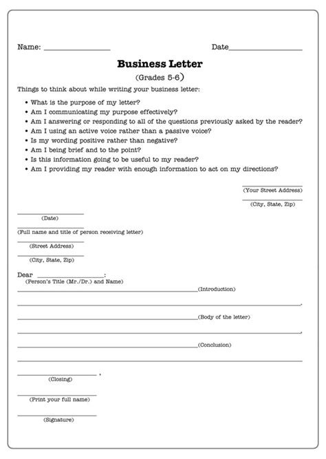Business Letter Template Worksheet 12 Best Images Of Letter Writing Worksheets Grade 3