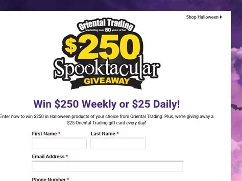 Sweepstakes Company In Canada - the oriental trading company spooktacular giveaway sweepstakes sweepstakes fanatics