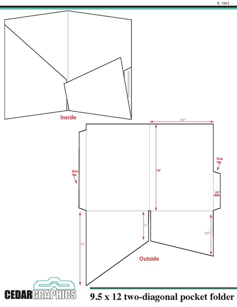 folder template pocket folder 9 5 quot x 12 quot two diagonal pocket template