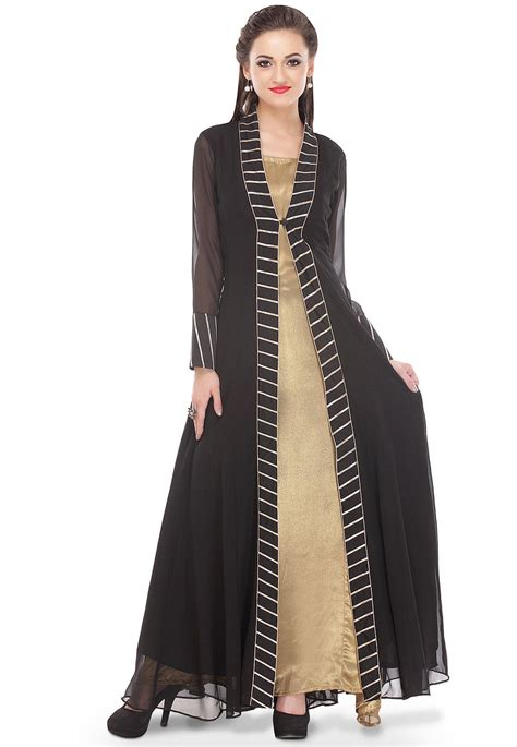H Caseli Dress Set Black plain georgette kurta set in black and beige thu941