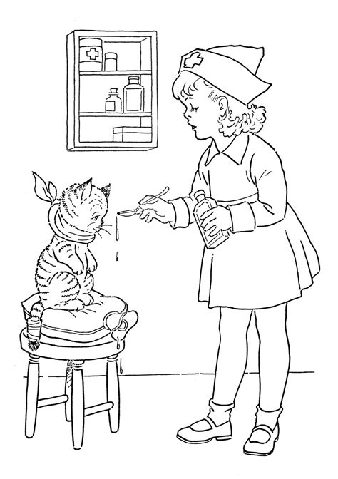 vintage coloring pages pdf kids vintage printable coloring page lil nurse the