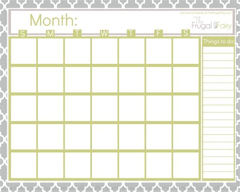 printable calendar empty free blank printable calendar the frugal fairy