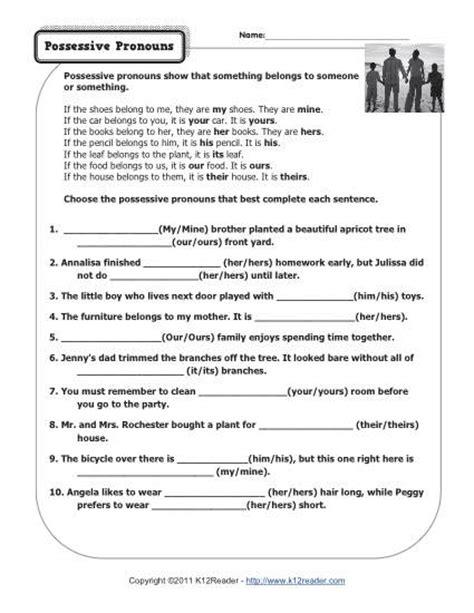 possessive pronouns worksheets for grade 3 possessive