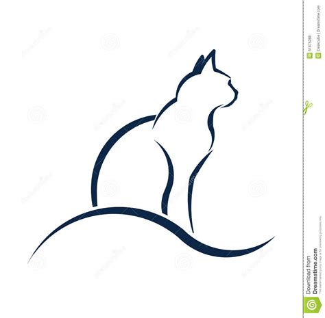 cat silhouette logo with wave stock vector image 51675288