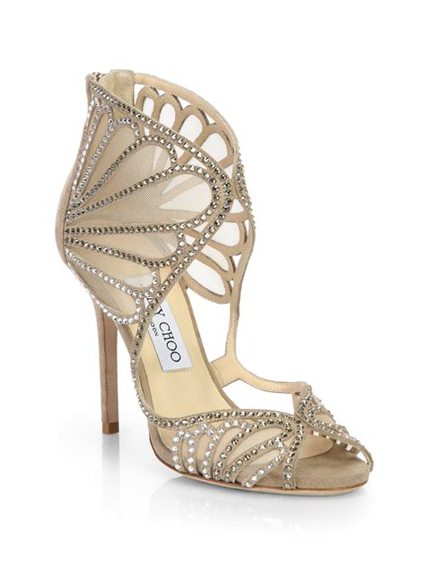jimmy choo shoes jimmy choo kole crystallized suede mesh sandals in