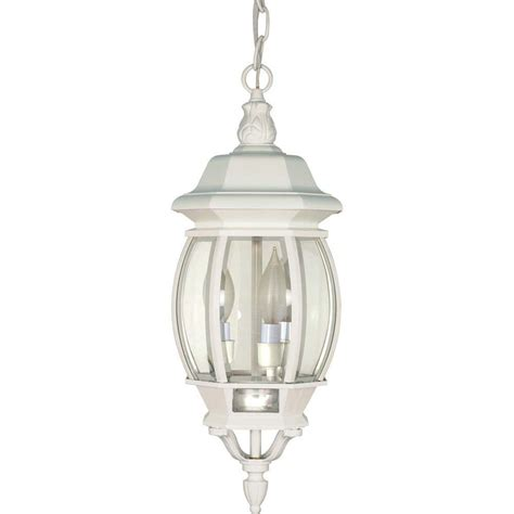 Ceiling Lantern Lights Glomar 3 Light Outdoor White Hanging Lantern With Clear Beveled Glass Hd 894 The Home Depot
